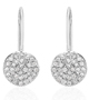 Wavy Diamond Disc White Gold Earrings