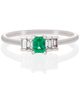 Emerald Diamond Baguette Ring