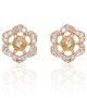 Yellow Diamond Rosette Studs