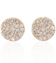 Small Diamond Disc Gold Studs