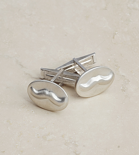 eco friendly Mustache Cufflinks in Silver, Reclaimed Sterling Silver