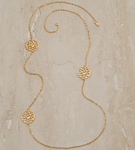 Julia Failey Eco Friendly Jewelry - Lotus Flower Necklace in Gold, Reclaimed Sterling Silver with 24kt Vermeil
