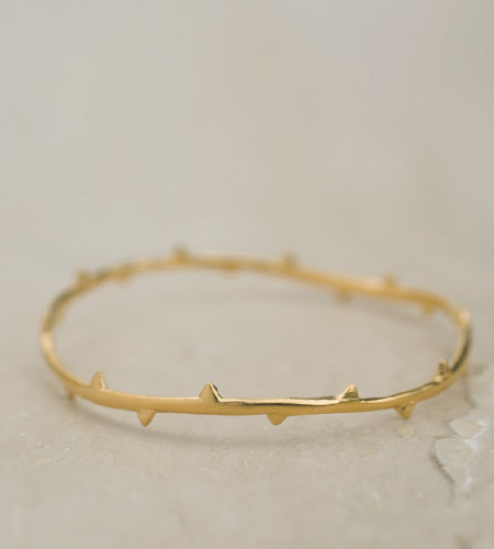 Julia Failey Eco Friendly Jewelry - Little Rose Vine Bangle in Gold, Reclaimed Sterling Silver with 24kt Vermeil