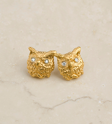 eco friendly Owl Stud Earrings, Great Gift!