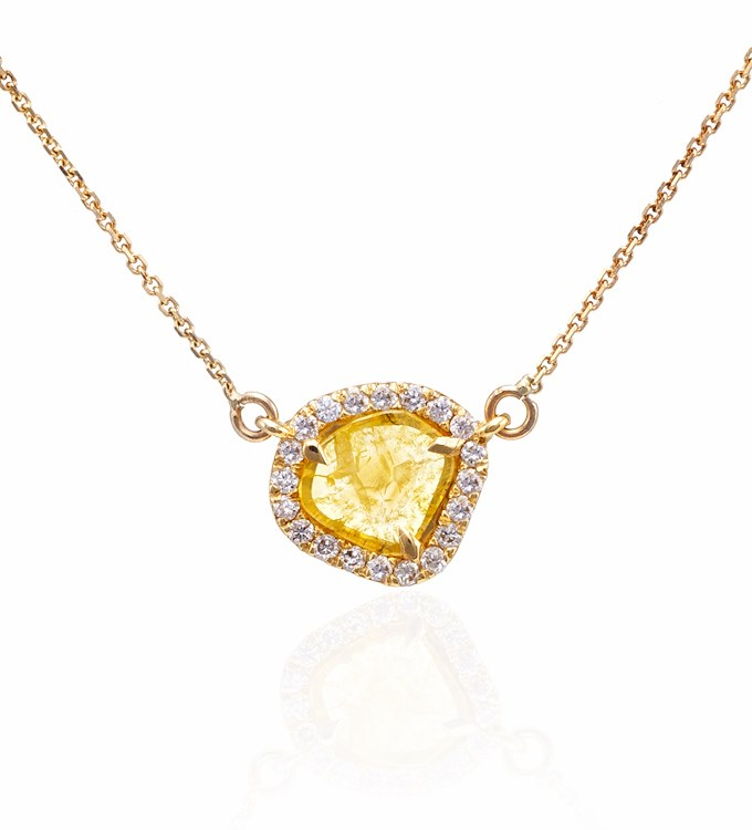Yellow Diamond Slice Necklace