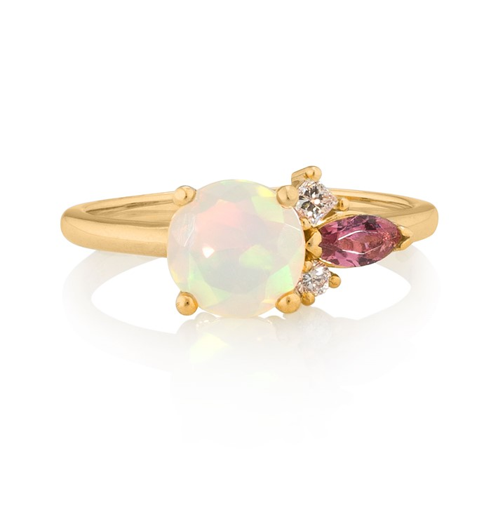 Faceted Opal Diamond Tourmaline Ring
