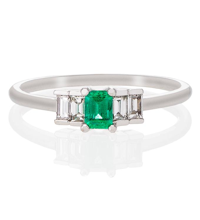 failey emerald baguette ring