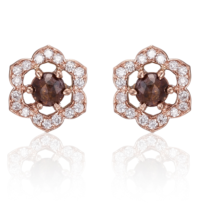 Red Diamond Rosette Studs