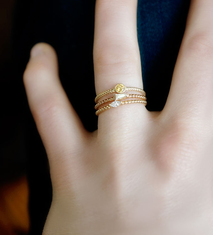 Fancy Yellow Diamond Twist Ring
