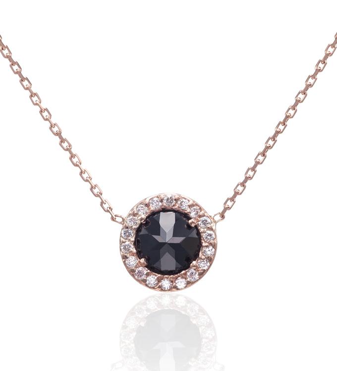 Julia failey rose gold black diamond halo necklace black diamond halo necklace aloadofball Image collections
