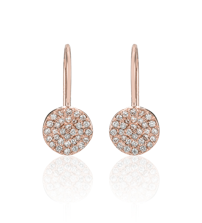 Wavy Diamond Disc Rose Gold Earrings