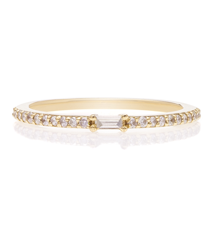 Baguette Pave Gold Ring