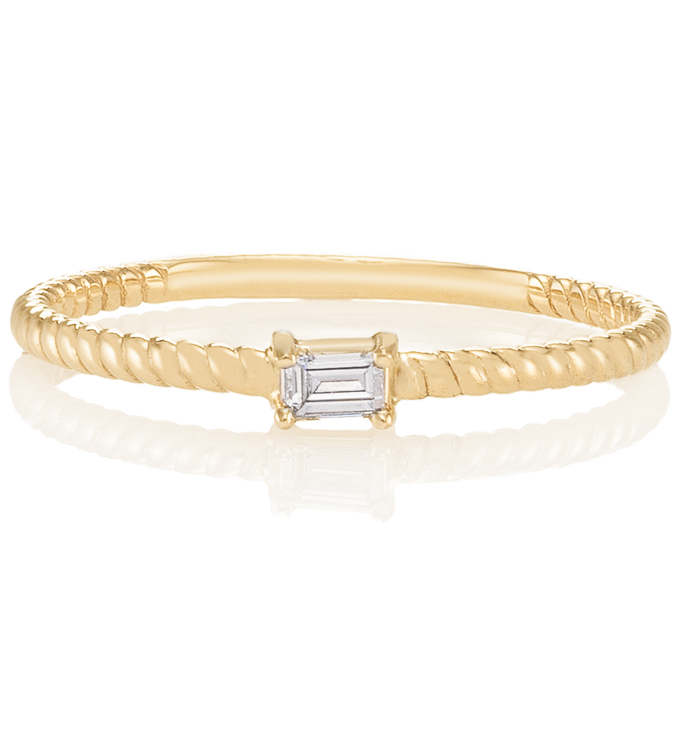 Baguette Diamond Gold Twist Ring