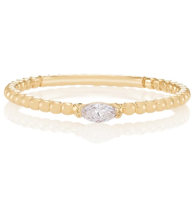Marquise Diamond Beaded Ring