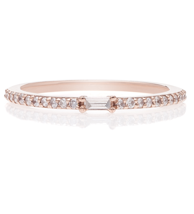 Baguette Pave Rose Gold Ring