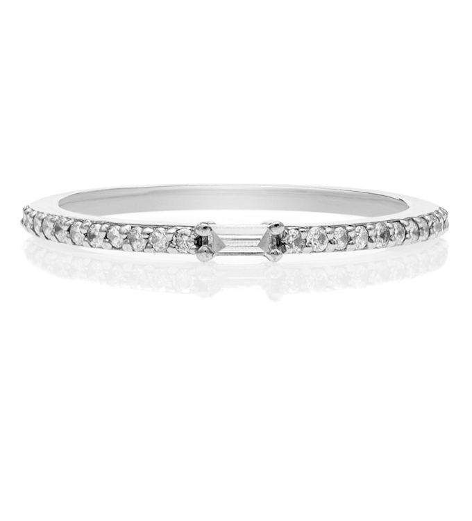 Baguette Pave White Gold Ring