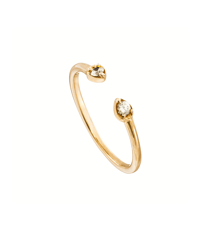 Gold Diamond Leaf Ring