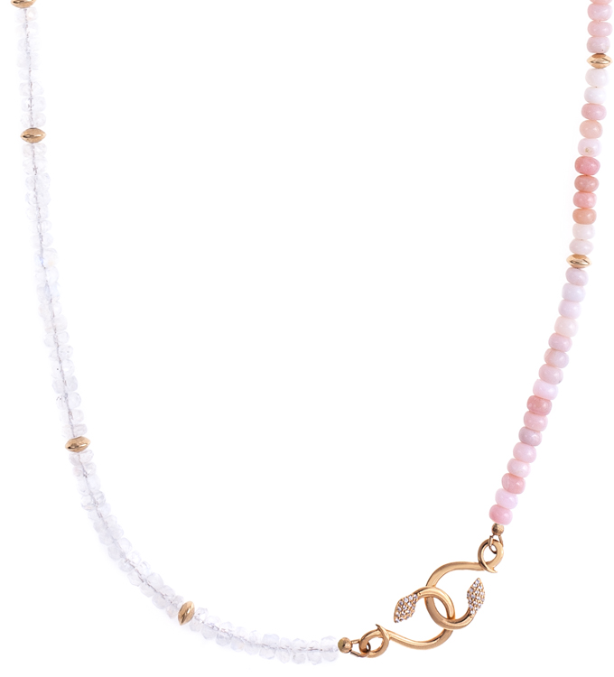 Opal Moonstone Snake Necklace