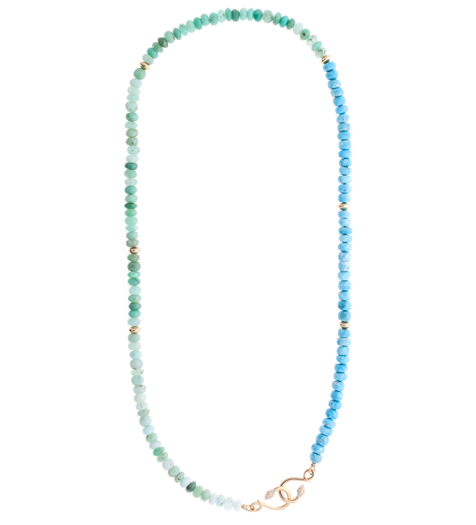 Turquoise and Chrysoprase Snake Necklace